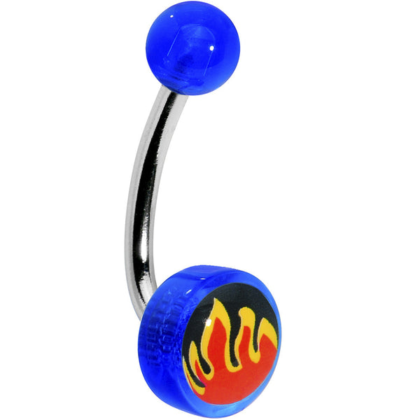 Blue Acrylic RED FLAME Logo Belly Button Ring