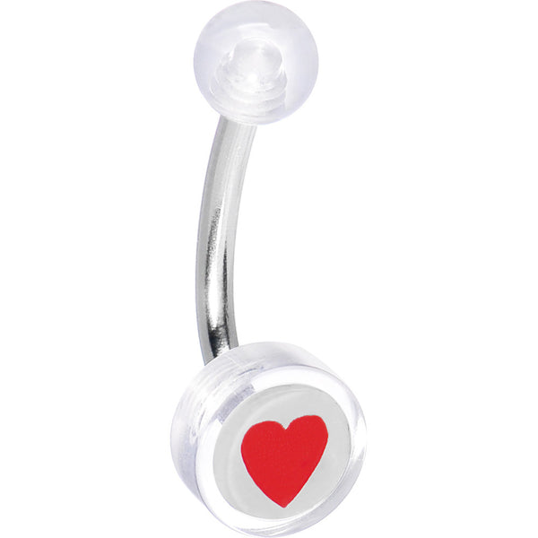 Clear Acrylic RED HEART Logo Belly Button Ring