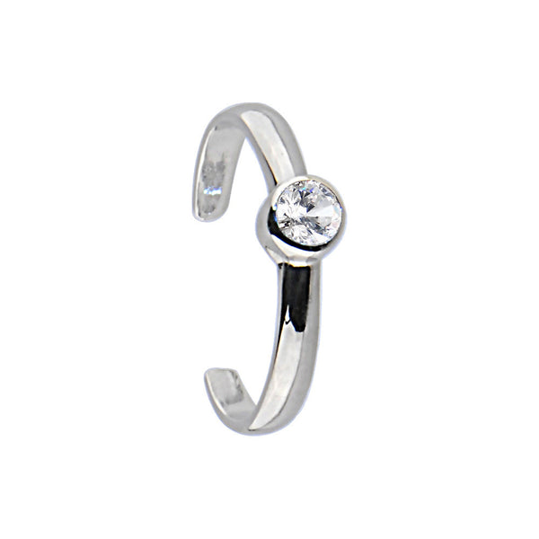 Sterling Silver 925 Cubic Zirconia Glamour Solitaire Toe Ring