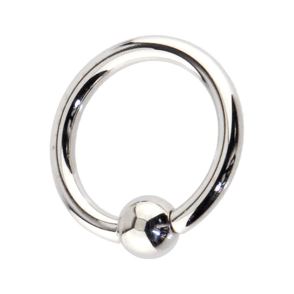 "Solid 14kt White Gold 14 Gauge 3/8"" Ball Captive Ring 4mm Ball"