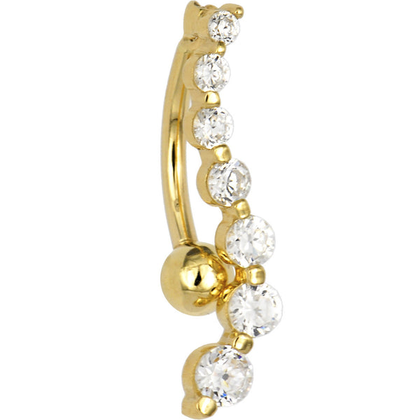 Solid 14kt Yellow Gold Top Mount Cubic Zirconia Journey Belly Ring
