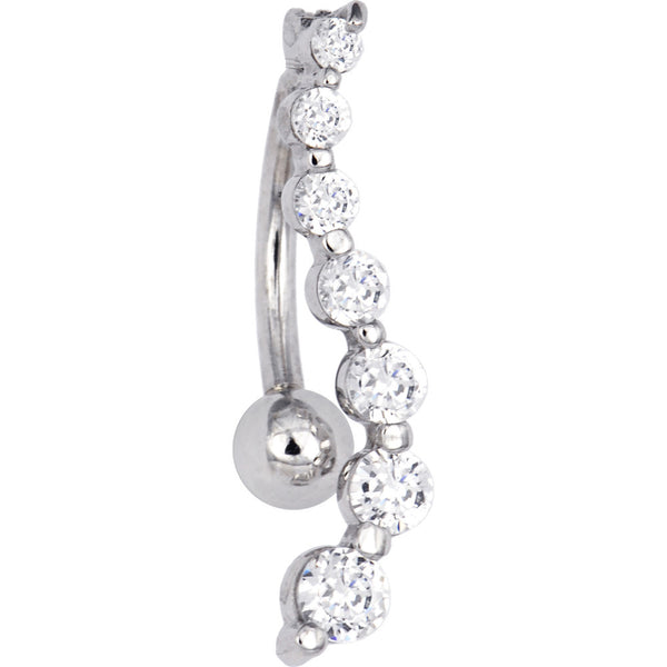 Solid 14kt White Gold Top Mount Cubic Zirconia Journey Belly Ring