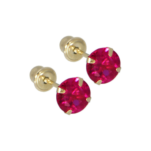 Solid 14kt Yellow Gold .47 Carat Cubic Zirconia JANUARY Birthstone Earrings