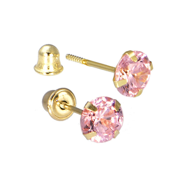 Solid 14kt Yellow Gold .47 Carat Cubic Zirconia OCTOBER Birthstone Earrings