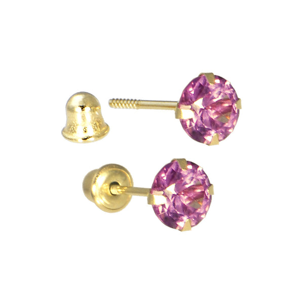 Solid 14kt Yellow Gold .47 Carat Cubic Zirconia JUNE Birthstone Earrings