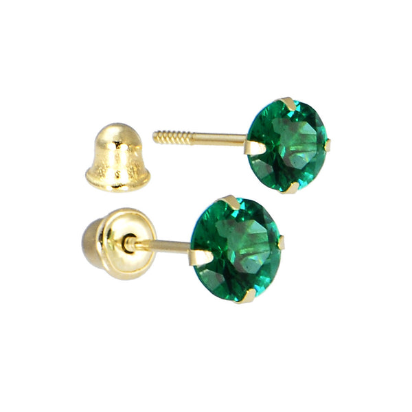 Solid 14kt Yellow Gold .47 Carat Cubic Zirconia MAY Birthstone Earrings