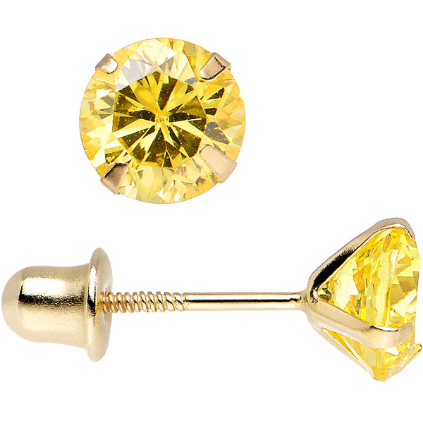 Solid 14kt Yellow Gold .47 Carat Cubic Zirconia November Birthstone Earrings
