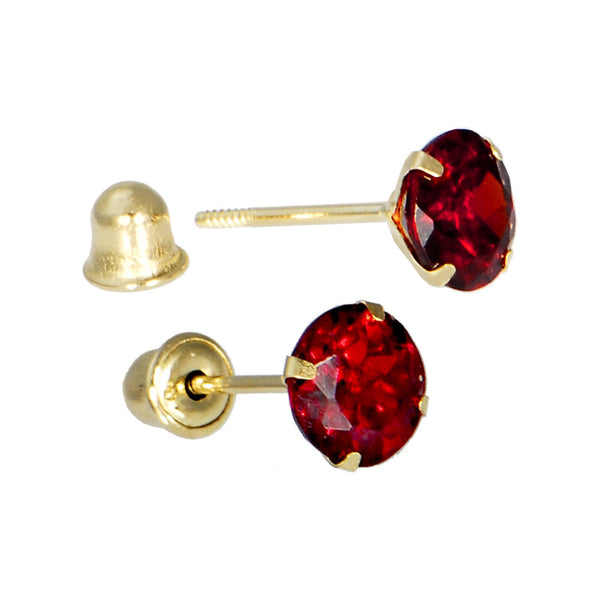 Solid 14kt Yellow Gold .47 Carat Cubic Zirconia JULY Birthstone Earrings