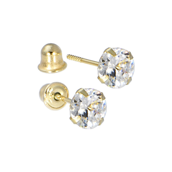 Solid 14kt Yellow Gold .47 Carat Cubic Zirconia APRIL Birthstone Earrings