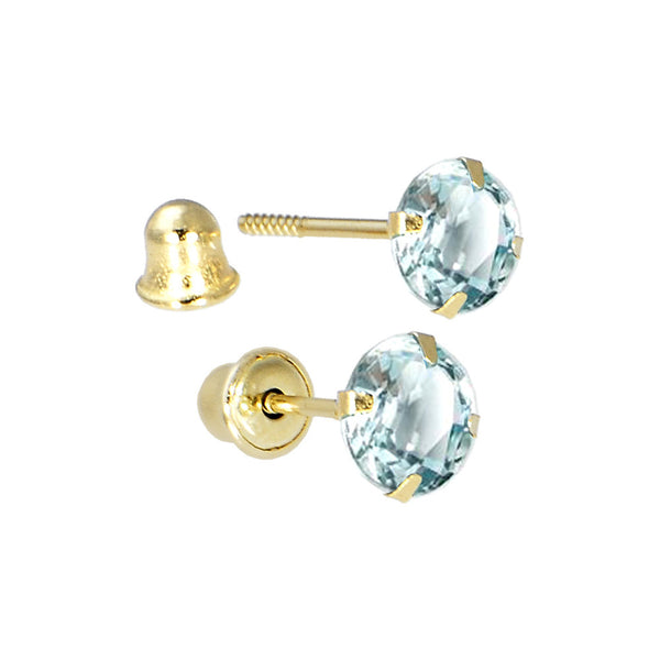 Solid 14kt Yellow Gold .47 Carat Cubic Zirconia MARCH Birthstone Earrings
