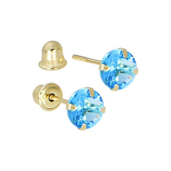 Solid 14kt Yellow Gold .47 Carat Cubic Zirconia DECEMBER Birthstone Earrings