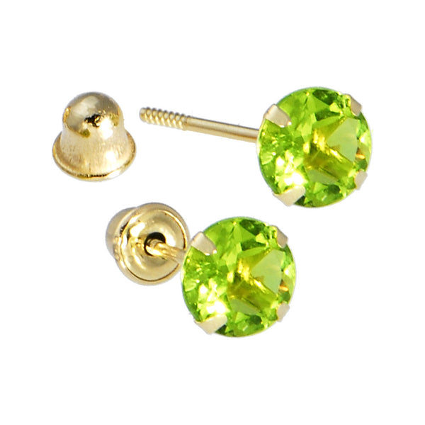 Solid 14kt Yellow Gold .47 Carat Cubic Zirconia AUGUST Birthstone Earrings