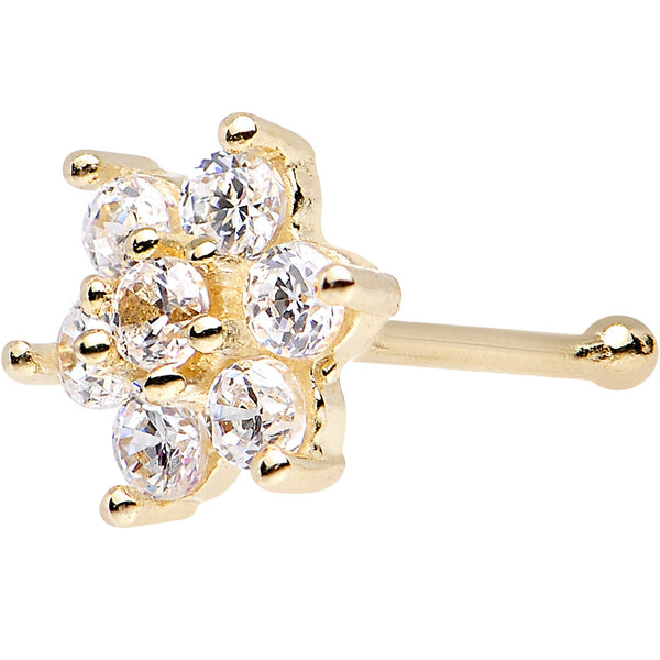 Solid 14kt Yellow Gold Clear Cubic Zirconia Flower Nose Stud