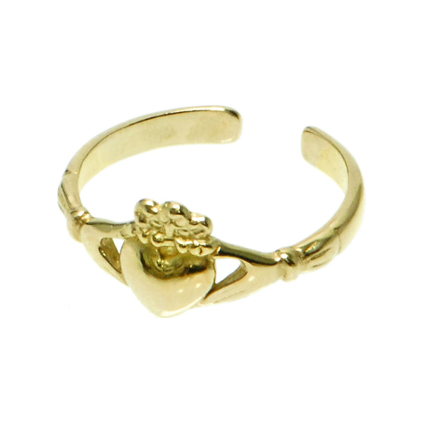 Solid 14kt Yellow Gold Claddagh Toe Ring