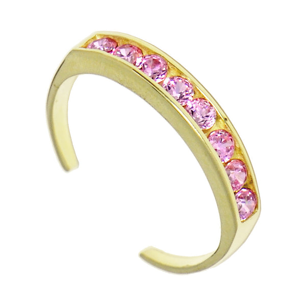 Solid 14kt Yellow Gold Pink Cubic Zirconia Toe Ring