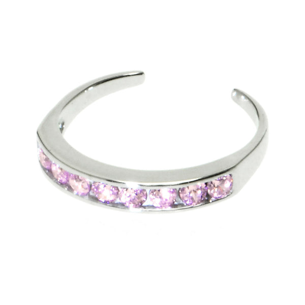 Solid 14kt White Gold Pink Cubic Zirconia Toe Ring