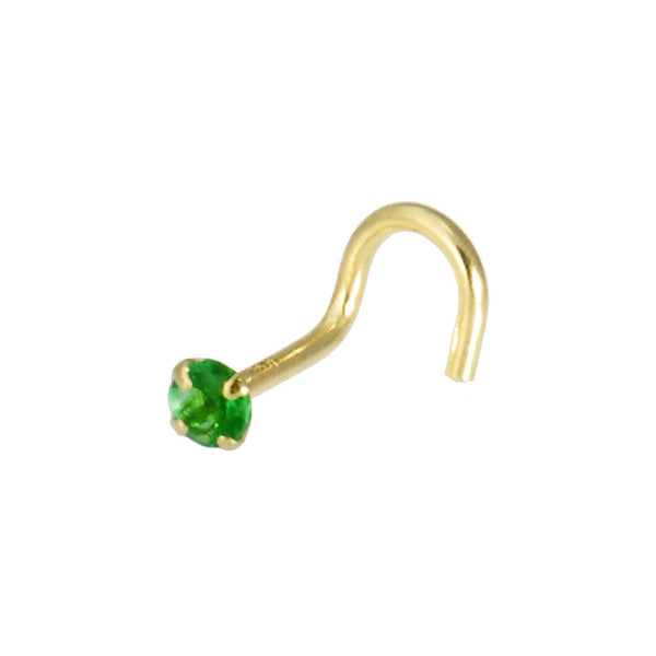 Solid 14kt Yellow Gold 2mm Emerald Cubic Zirconia Solitaire Nose Ring
