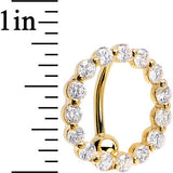 Solid 14kt Yellow Gold Reverse Zirconia Circle Belly Ring