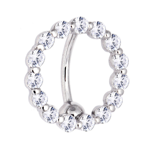 Solid 14kt White Gold Reverse Zirconia Circle Belly Ring
