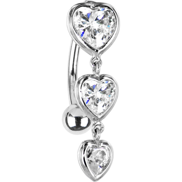 Solid 14kt White Gold Top Mount Cubic Zirconia Heart Trilogy Belly Ring