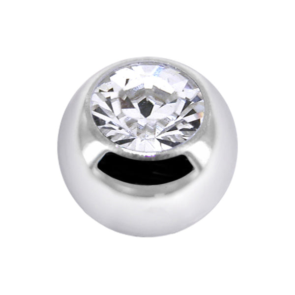 Solid 14kt White Gold Cubic Zirconia Replacement Ball  4.5mm - 14 Gauge