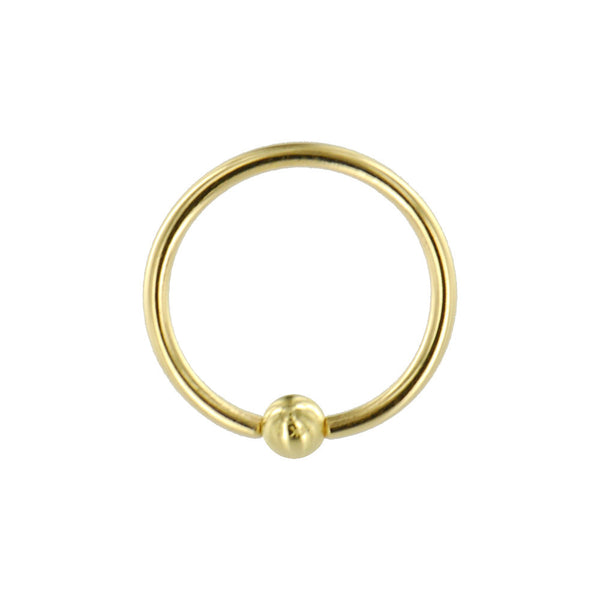 "Solid 14kt Yellow Gold 16 Gauge 1/2"" Ball Captive Ring 3mm Ball"