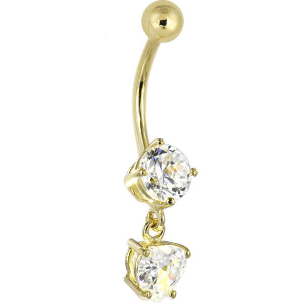 Solid 14kt Yellow Gold Cubic Zirconia Solitaire Round Heart Dangle Belly Ring