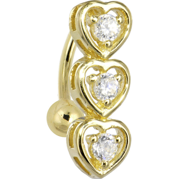 Solid 14kt Yellow Gold Top Mount Cubic Zirconia Heart Of Hearts Belly Ring
