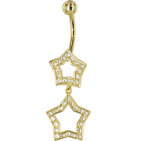 Solid 14kt Yellow Gold Cubic Zirconia Coupled Star Belly Ring