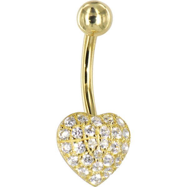 Solid 14kt Yellow Gold Cubic Zirconia Paved Heart Belly Ring