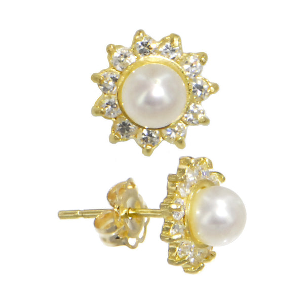 Solid 14kt Gold FANCY Cubic Zirconia Pearl Earrings