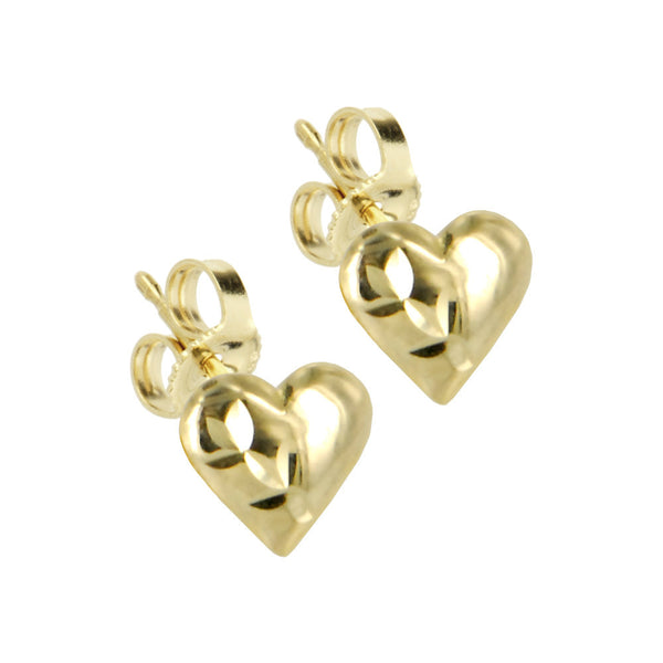 Solid 14kt Gold PUFFED HOLLOW HEART Earrings