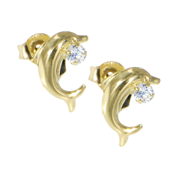 Solid 14KT Gold Cubic Zirconia DOLPHIN Earrings