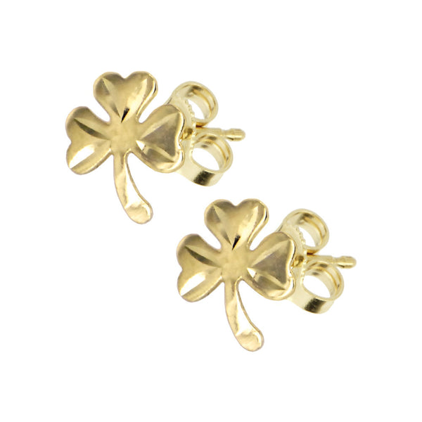 Solid 14KT Gold SHAMROCK Earrings