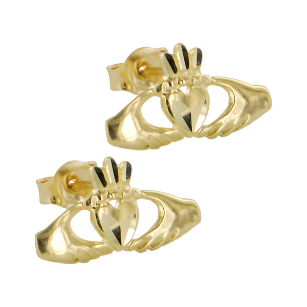 Solid 14KT Gold CLADDAGH Earrings
