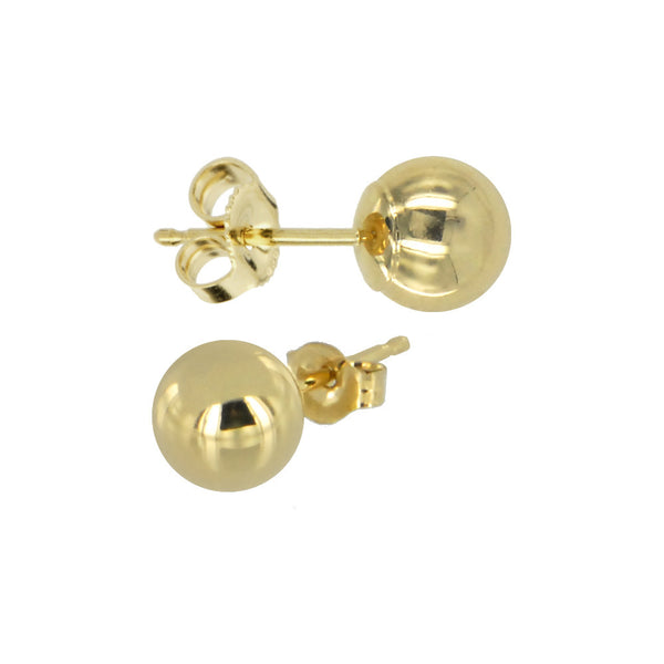 Solid 14KT Yellow Gold 6mm BALL Stud Earrings