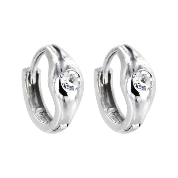Sterling Silver Cubic Zirconia SOLITARIE Huggy Hoop Earrings