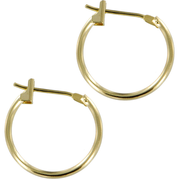 Solid 14KT Yellow Gold 1.5mm 5/8 Inch Hoop Earrings