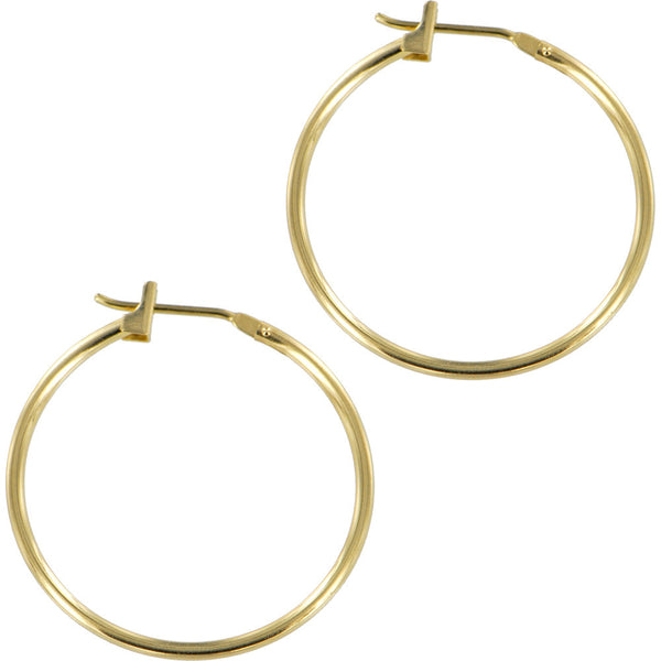 Solid 14KT Yellow Gold Hoop Earrings - .75 Diameter
