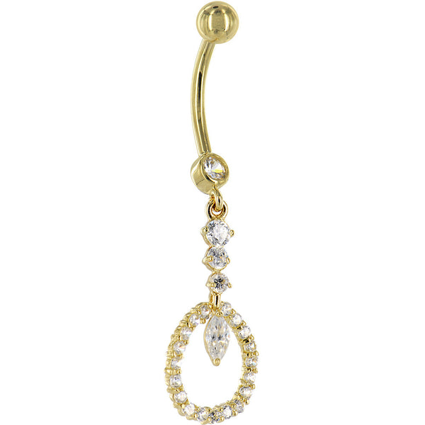 Solid 14KT Yellow Gold CIRCULAR INDULGENCE Cubic Zirconia Belly Ring