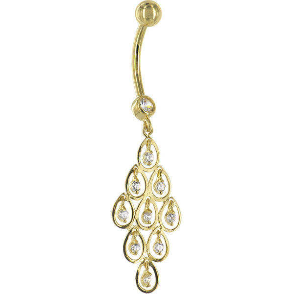 Solid 14KT Yellow Gold TEARDROP CHANDELIER Cubic Zirconia Belly Ring