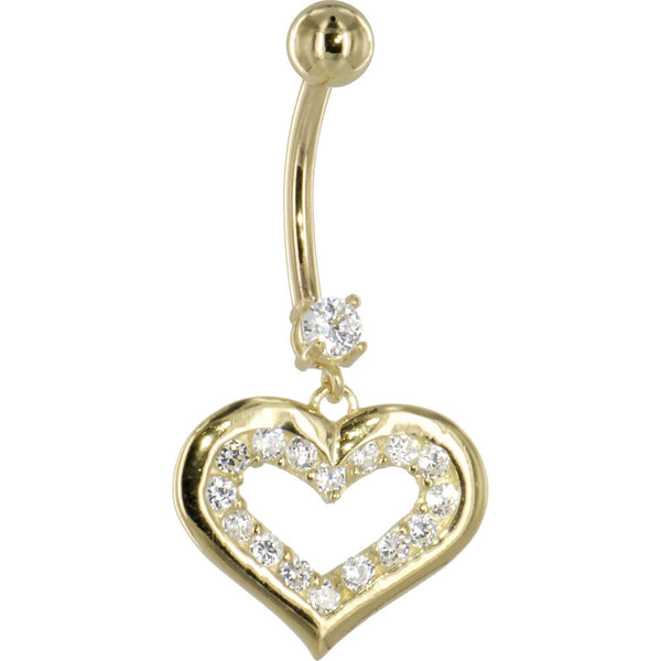 Solid 14KT Yellow Gold Cubic Zirconia ENCASED HEART Dangle Belly Ring
