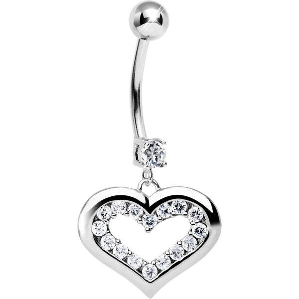 Solid 14KT White Gold Cubic Zirconia ENCASED HEART Dangle Belly Ring