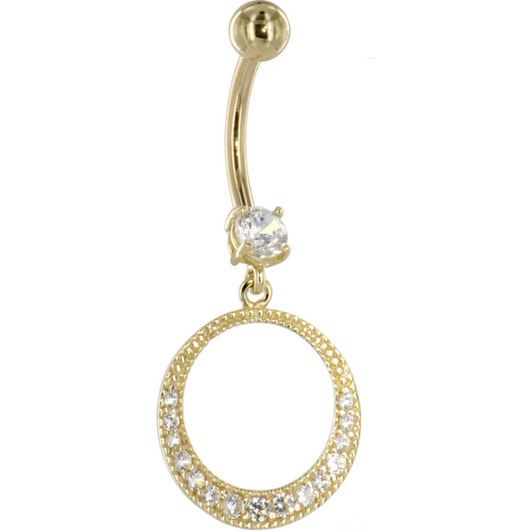Solid 14KT Yellow Gold Cubic Zirconia EXOTIC CIRCULAR Dangle Belly Ring