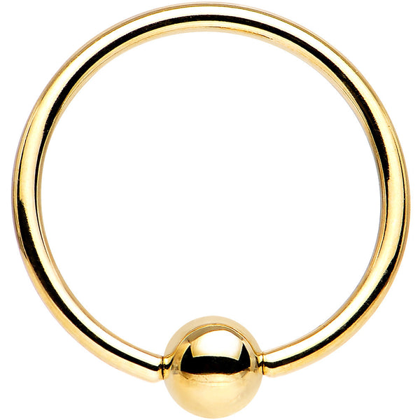 "Solid 14KT Yellow Gold 16 Gauge 9/16"" Ball Captive Ring 4mm Ball"