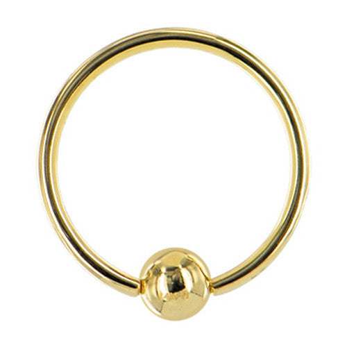 "Solid 14KT Yellow Gold 16 Gauge 3/8"" Ball Captive Ring 3mm Ball"