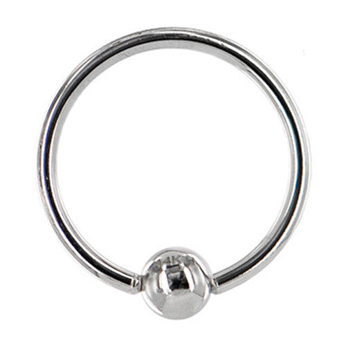"Solid 14KT White Gold 16 Gauge 3/8"" Ball Captive Ring 3mm Ball"