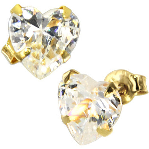 Solid 14KT Yellow Gold .75 Carrat Cubic Zirconia HEART Stud Earrings
