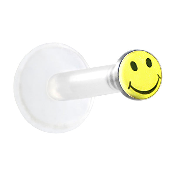 Clear BIOPLAST Yellow SMILEY FACE Logo Push In Labret