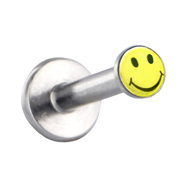 Surgical Steel Yellow SMILEY FACE Logo Push In Labret
